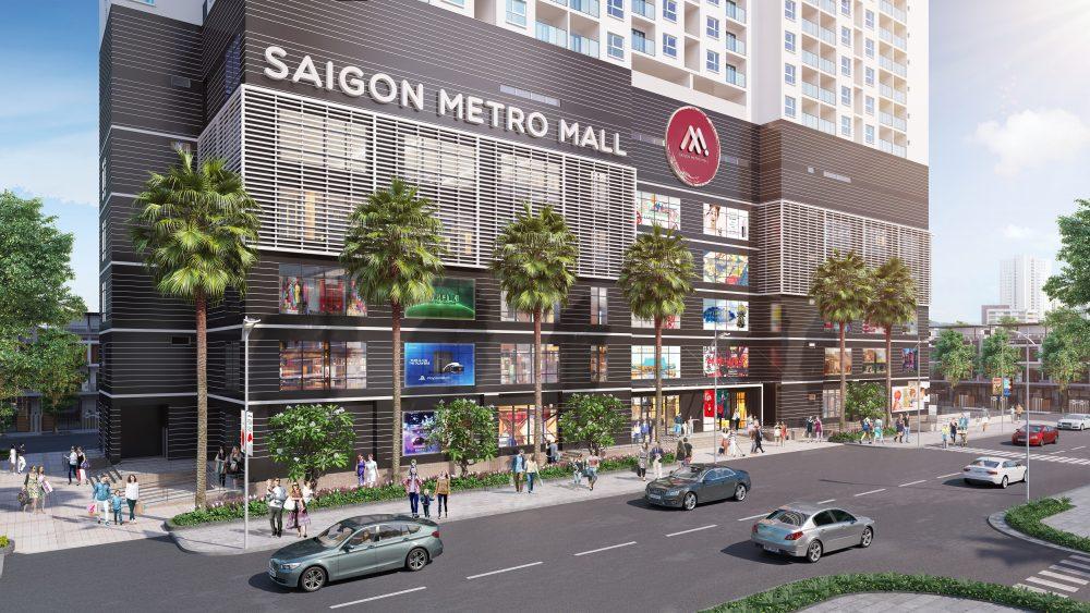 Phối cảnh mặt ngoài khu trung tâm thương mại Saigon Metro Mall quận 8