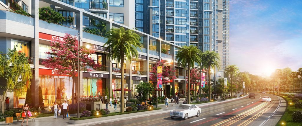 Phối cảnh trung tâm thương mại nội khu dự án đất nền Tấn Phát tỉnh Long An