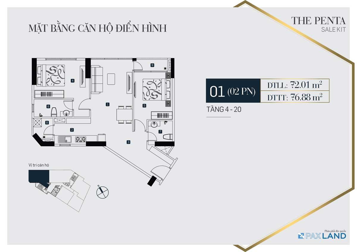 Mặt bằng căn hộ điển hình có 2 phòng ngủ tại dự án The Penta quận Bình Thạnh