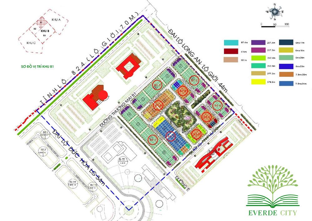Mặt bằng phân lô khu B1 của dự án khu đô thị Everde City