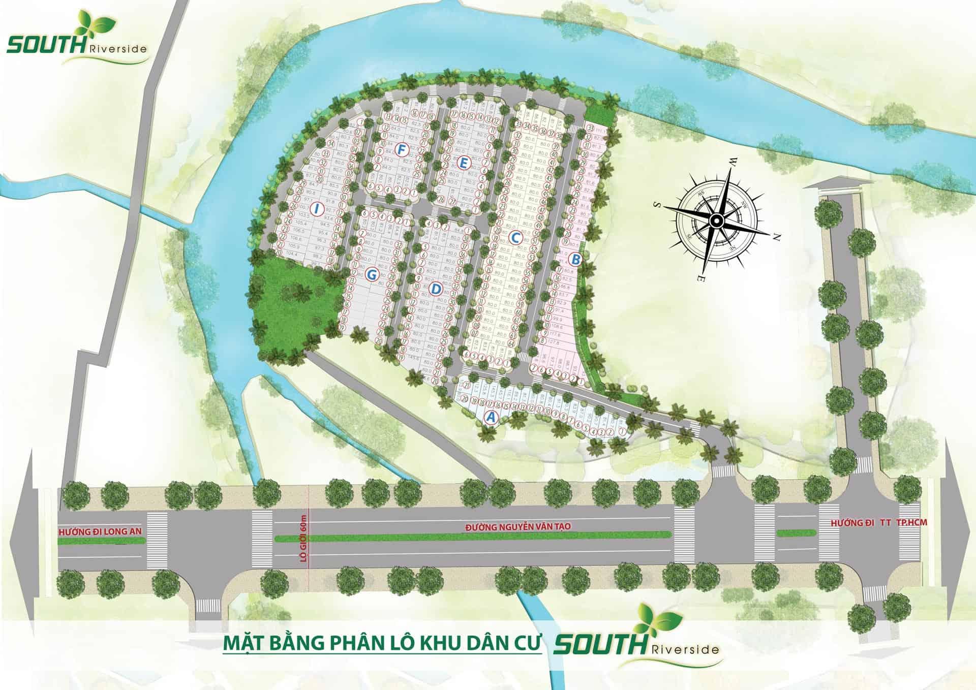 Mặt bằng phân lô khu dân cư South Riverside huyện Nhà Bè