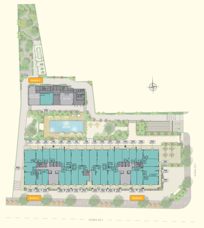Mặt bằng tầng điển hình (tầng 1) dự án Moonlight Park View quận Bình Tân