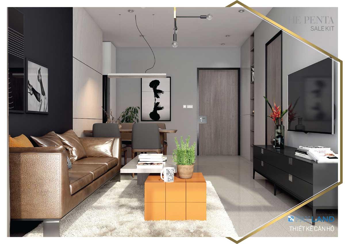 Phòng khách căn hộ mẫu dự án The Penta