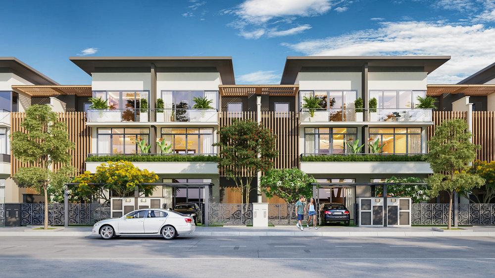 Phối cảnh căn nhà phố tại phân khu B1 bên trong dự án Everde City