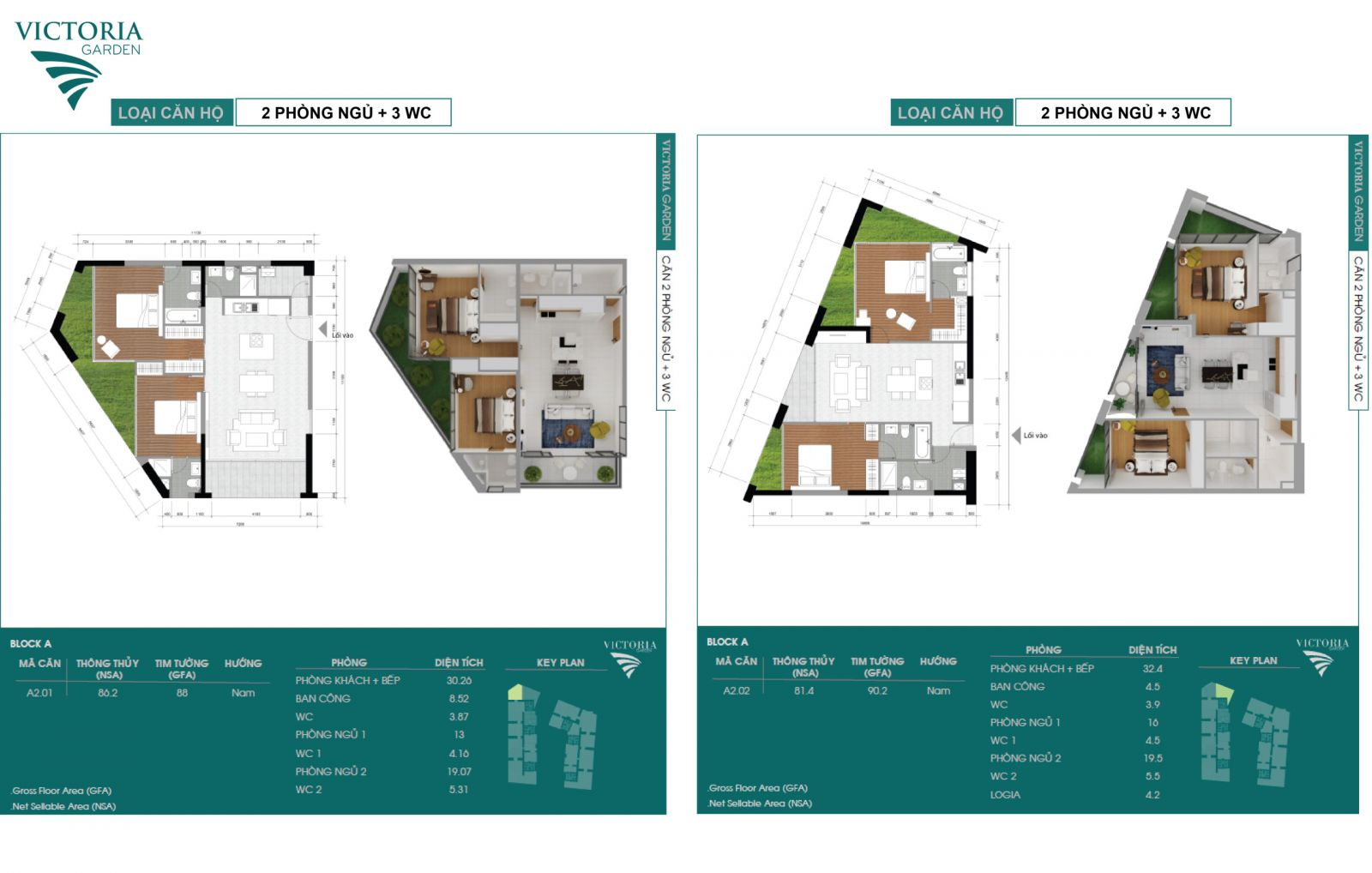 Mặt bằng căn hộ 2 phòng ngủ và 3 WC điển hình của block A dự án Victoria Garden quận Bình Tân