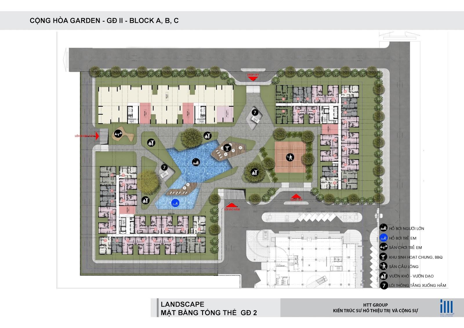 Mặt bằng tổng thể giai đoạn 2 dự án Cộng Hòa Garden