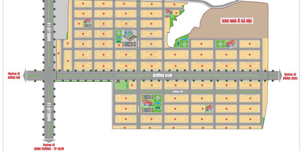 Mặt bằng phân lô dự án khu dân cư Đại Nam tỉnh Bình Phước