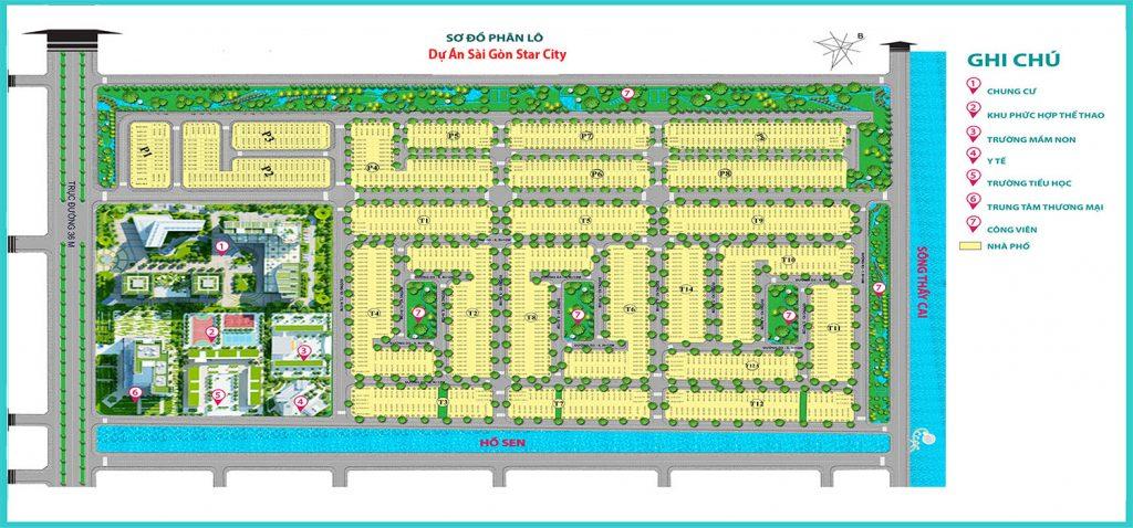 Mặt bằng phân lô dự án Sài Gòn Star City huyện Củ Chi