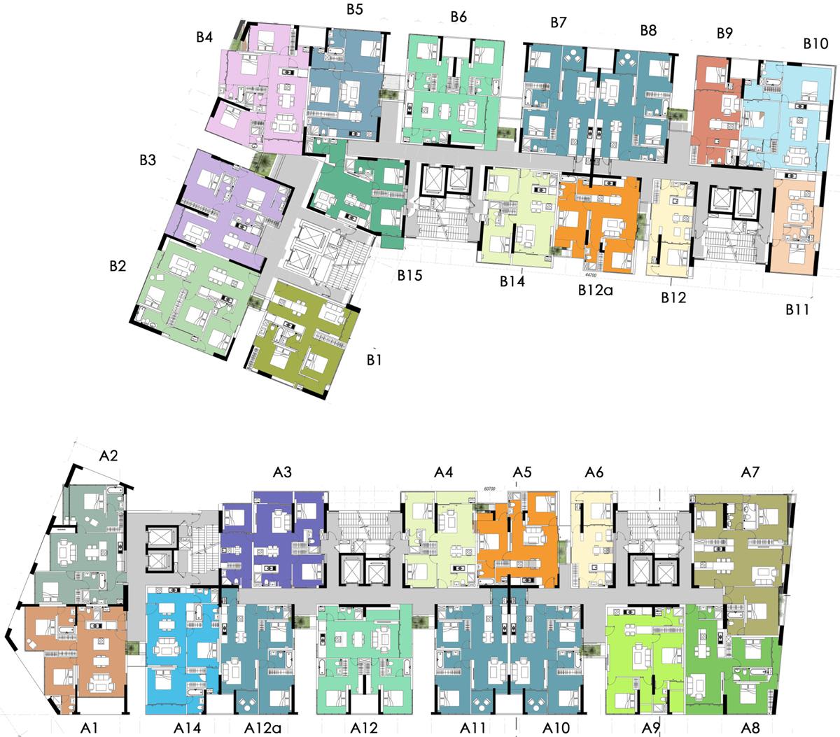 Mặt bằng tầng các căn hộ điển hình (tầng 4 – 30) tại dự án Victoria Garden