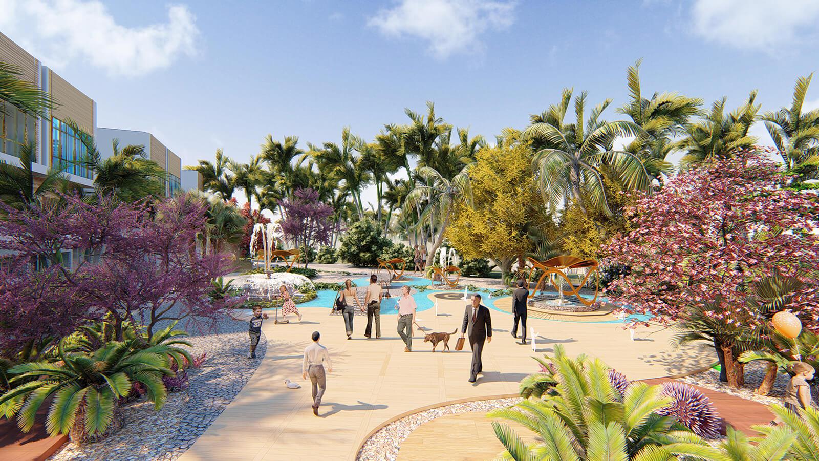 Phối cảnh một góc công viên ngàn hoa nội khu dự án Ocean Gate