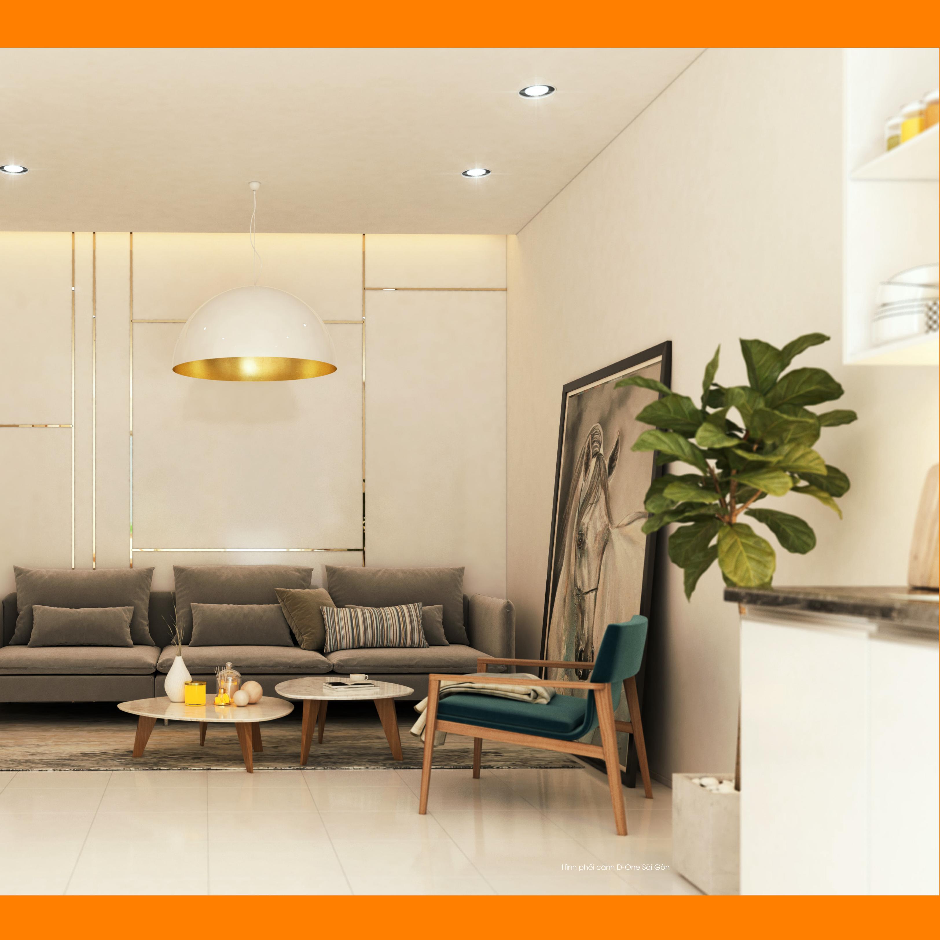 Phòng khách nhà mẫu của dự án D – One quận Gò Vấp