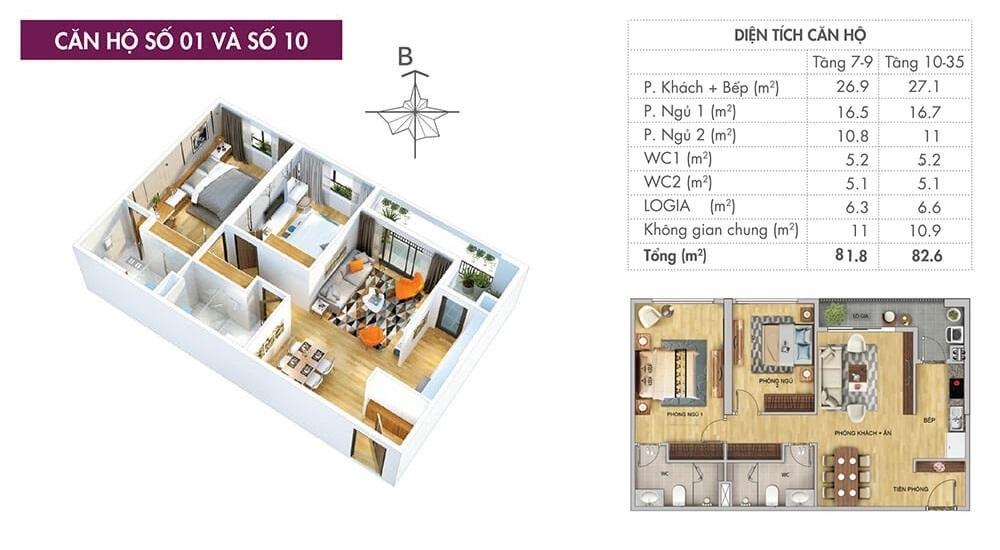 Mặt bằng căn hộ điển hình (căn hộ số 01 và số 10) tại dự án 6th Element