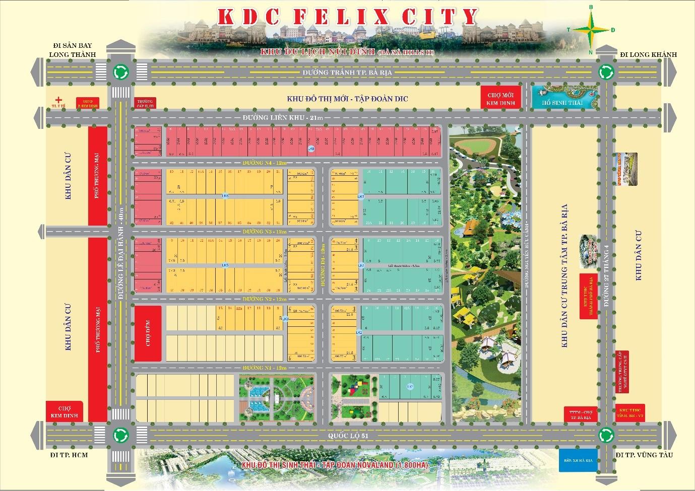 Mặt bằng dự án khu dân cư Felix City Bà Rịa – Vũng Tàu