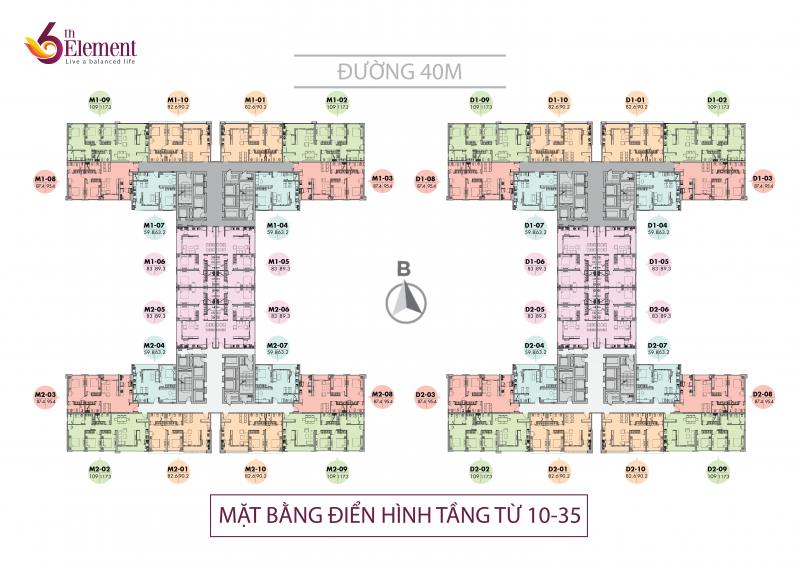 Mặt bằng tầng căn hộ điển hình (tầng 10 – 35) dự án 6th Element Hà Nội