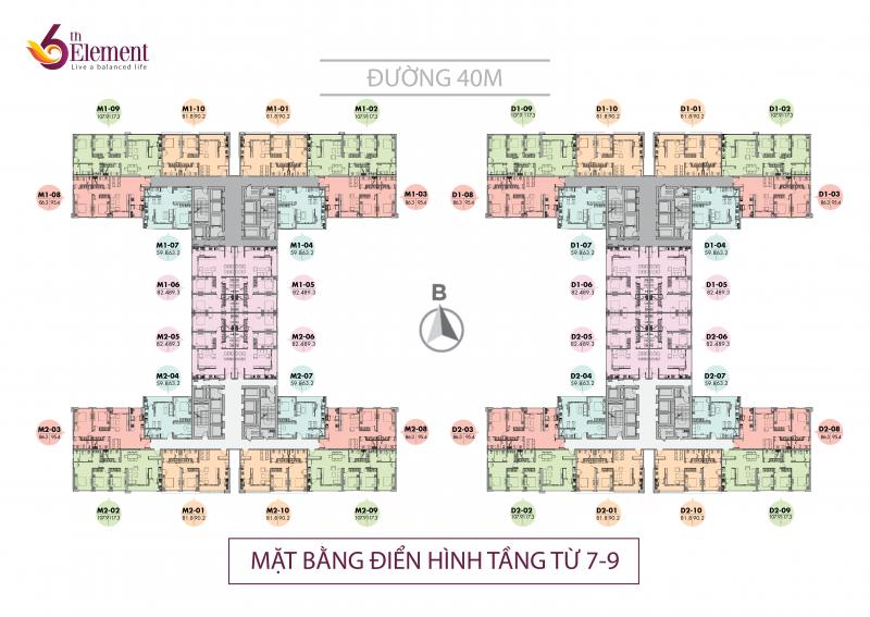 Mặt bằng tầng căn hộ điển hình (tầng 7 – 9) dự án 6th Element Hà Nội