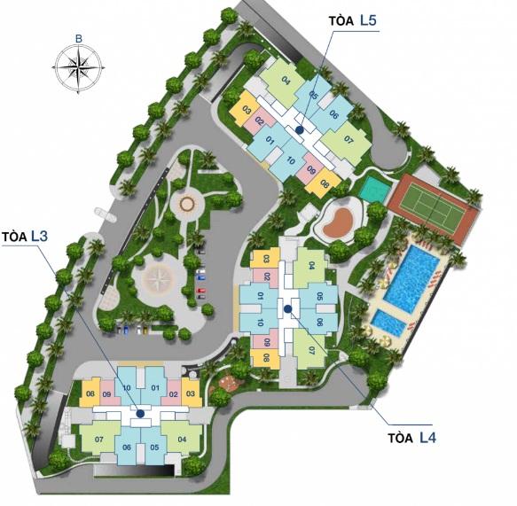 Mặt bằng tổng thể tổ hợp căn hộ The Link – tòa L3 L4 L5 tại quận Bắc Từ Liêm