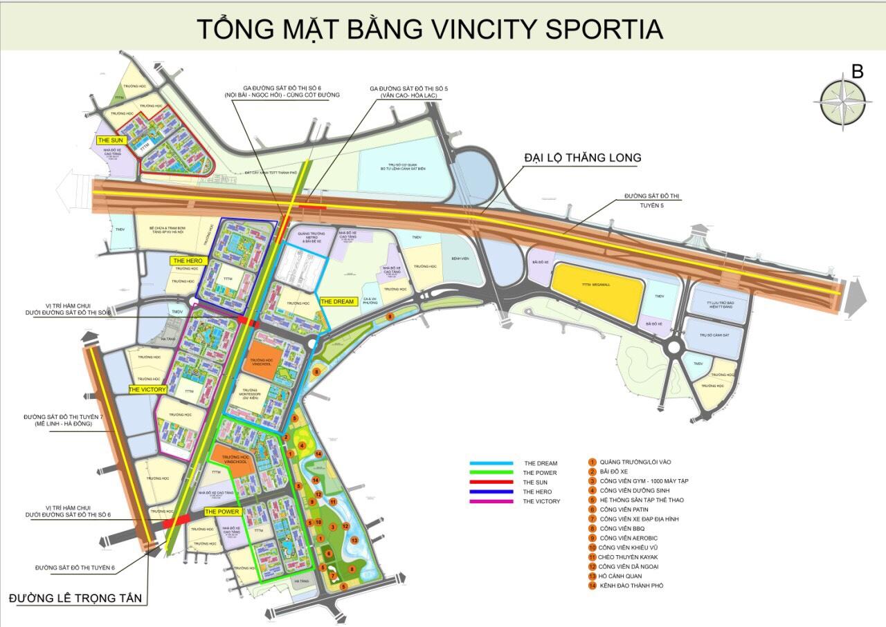 Mặt bằng tổng thể khu đô thị VinCity Sportia