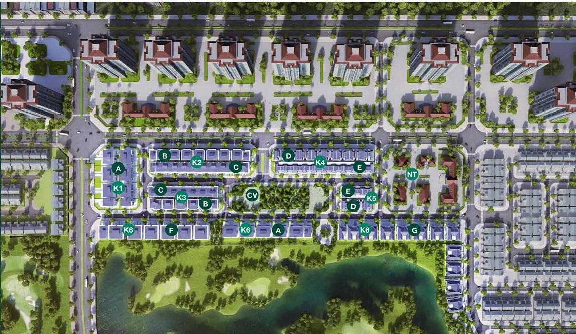 Mặt bằng vị trí các căn biệt thự và tiện ích xung quanh dự án Grand Gardenville quận Tây Hồ