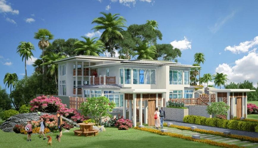Phối cảnh mặt trước biệt thự biển dự án Ha Tien Venice Villas tỉnh Kiên Giang