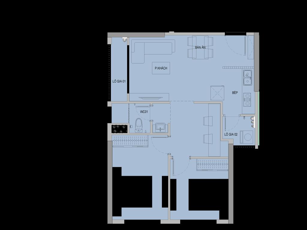 Mặt bằng căn hộ điển hình tòa C1 dự án Vinhomes New Center