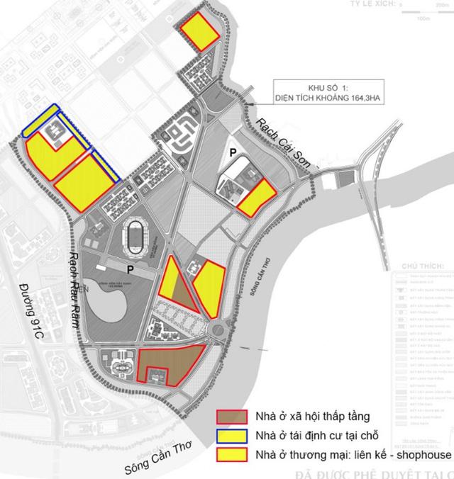 Mặt bằng quy hoạch khu nhà ở liền kề, shophouse và khu nhà ở xã hội của khu đô thị An Bình 1.