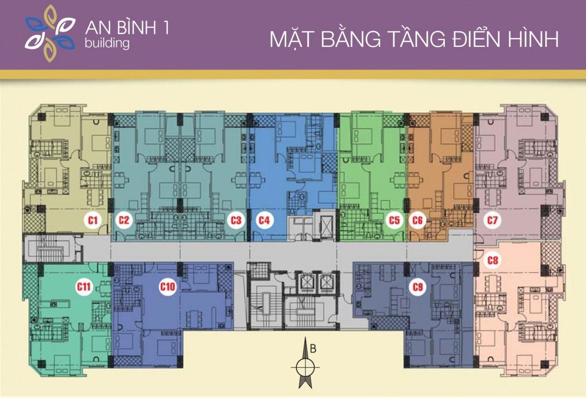 Mặt bằng tầng điển hình dự án căn hộ An Bình I quận Hoàng Mai