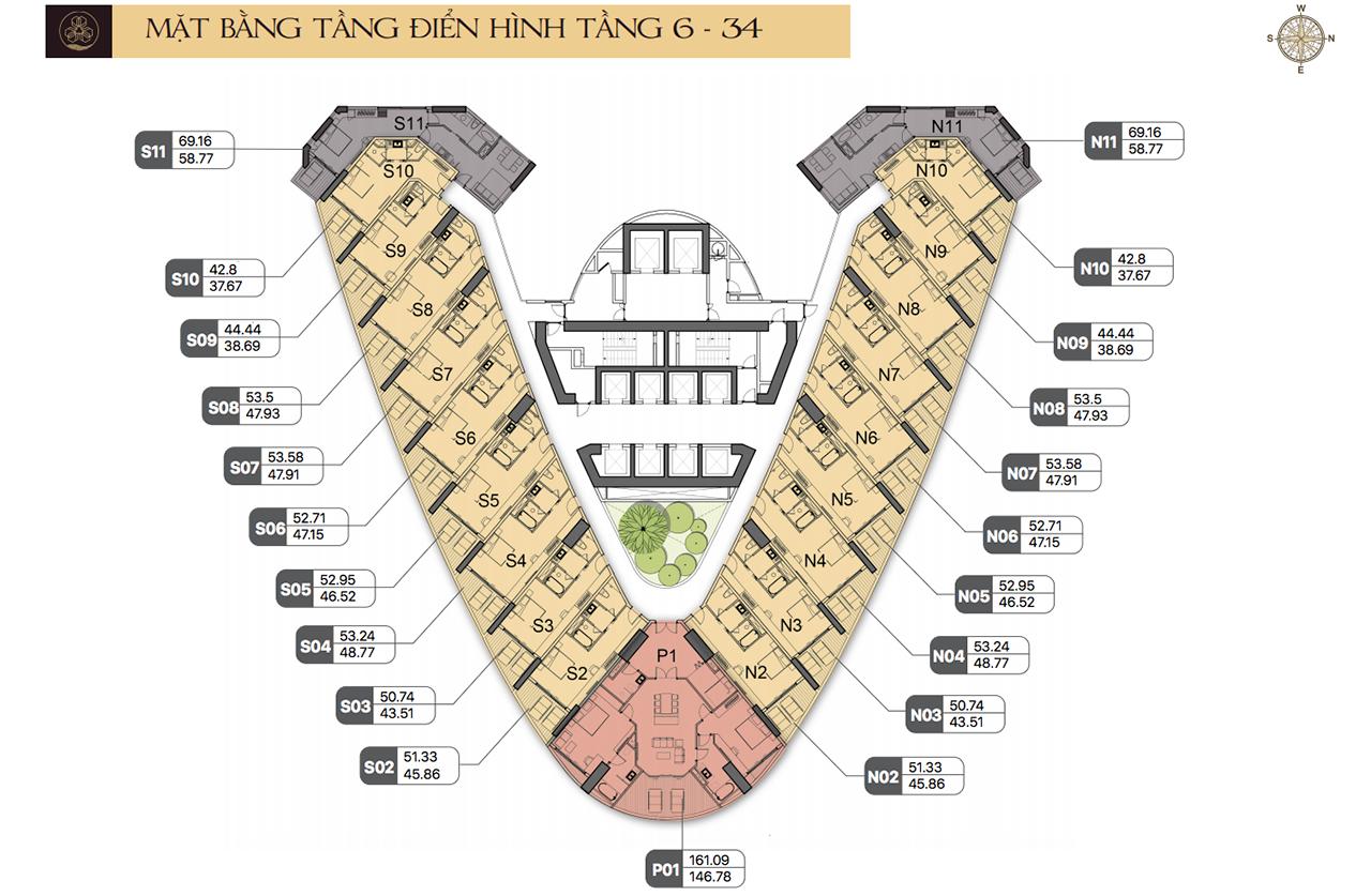Mặt bằng tầng điển hình các căn hộ (tầng 6 – 34) dự án Beau Rivage Nha Trang