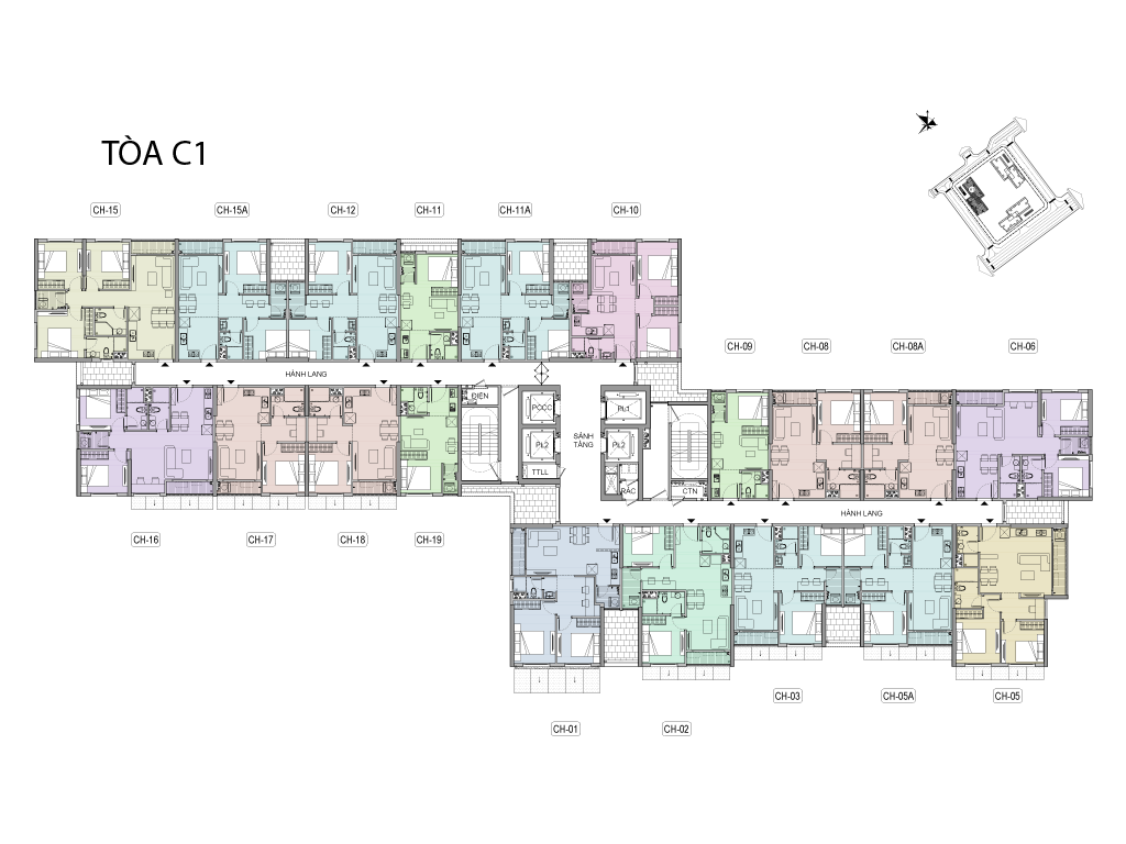Mặt bằng tầng điển hình (tầng 2) tòa tháp C1 dự án Vinhomes New Center