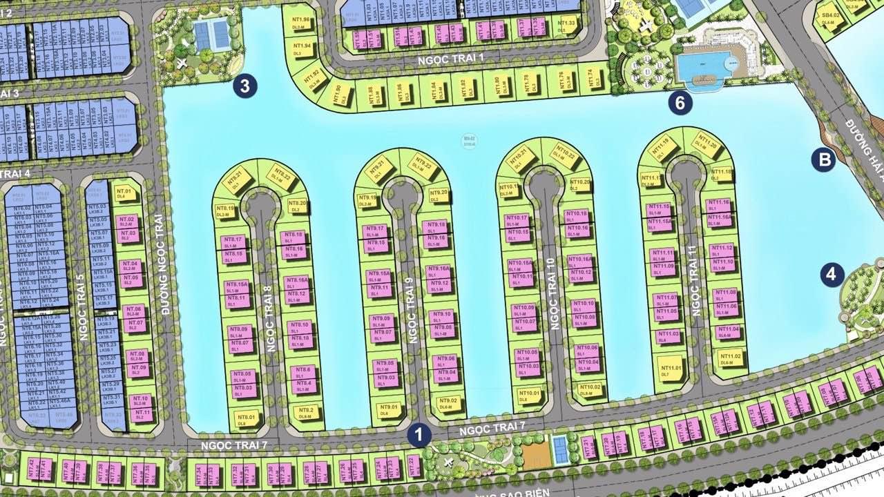 Mặt bằng tiểu khu Ngọc Trai dự án Vinhomes Cầu Rào
