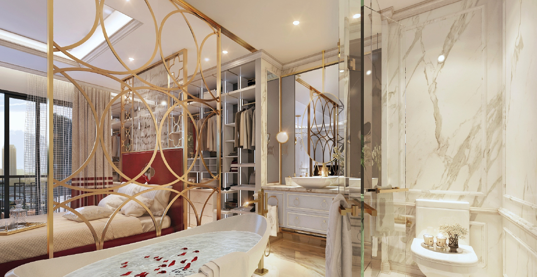 Phòng ngủ căn hộ loại 1 phòng ngủ nhà mẫu Rome Diamond Lotus
