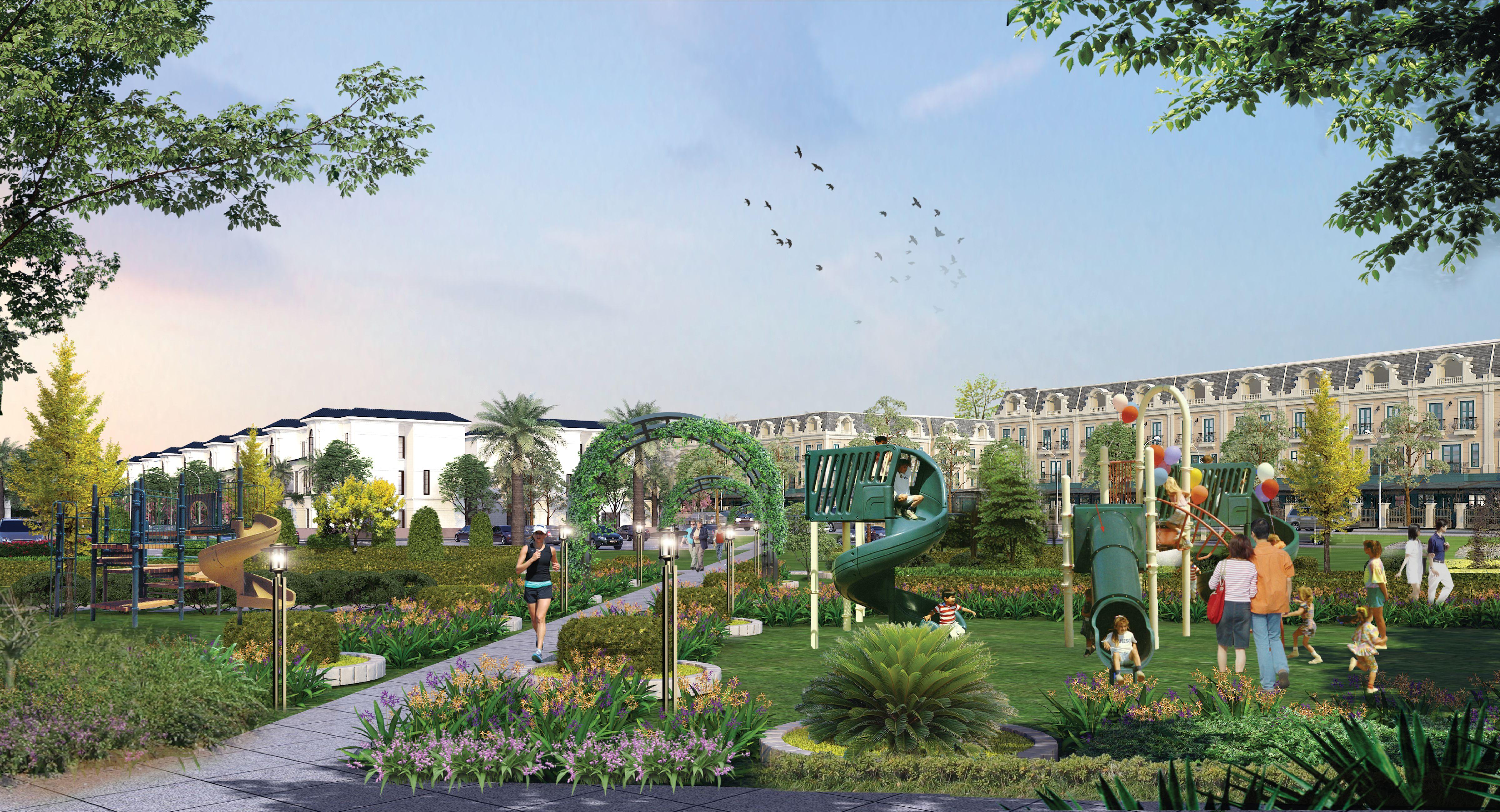 Phối cảnh khu công viên vui chơi dành cho trẻ em tại Uông Bí New City