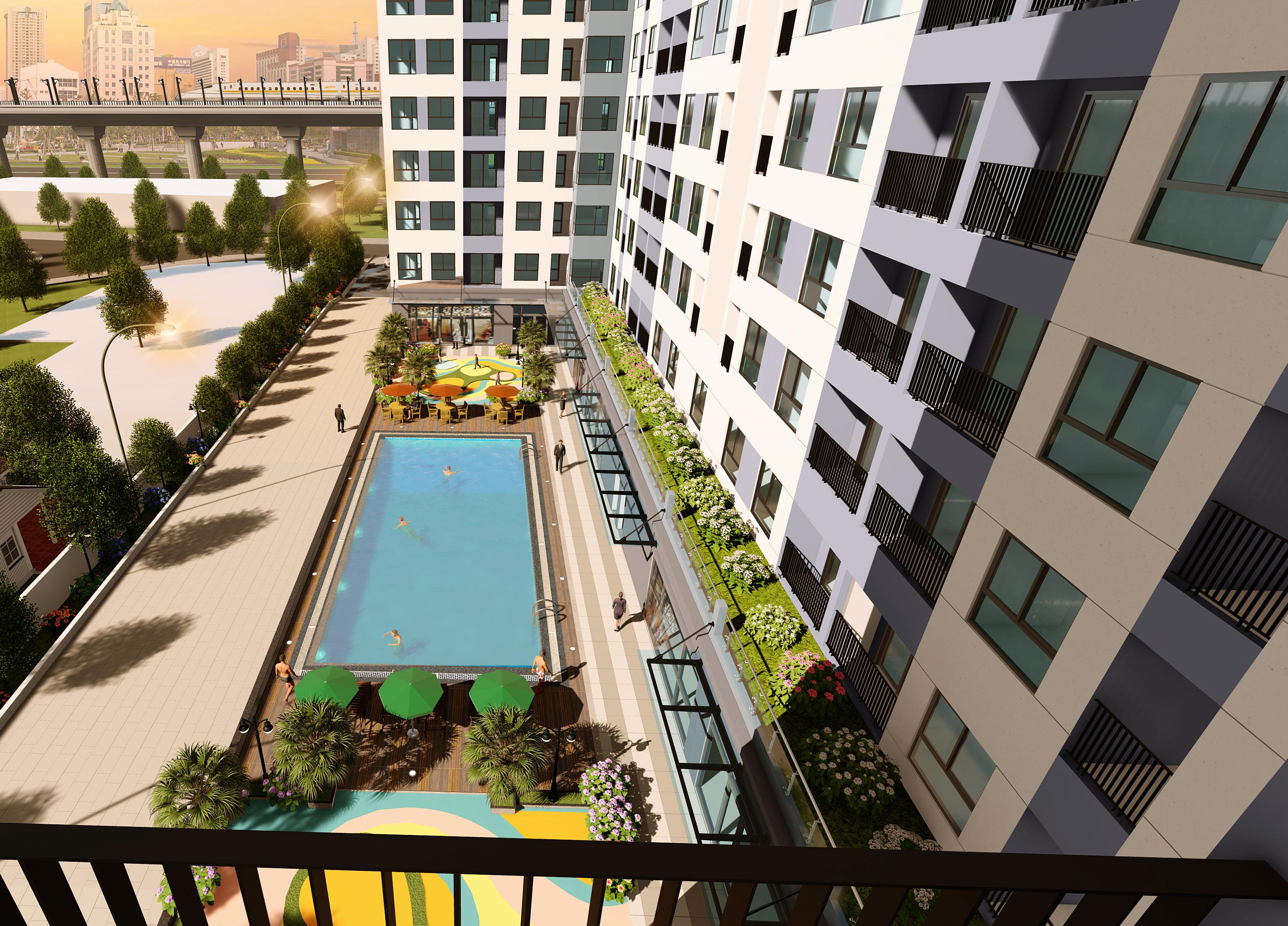 Phối cảnh khu hồ bơi nhìn từ mặt hông của tòa căn hộ Bcons Miền Đông
