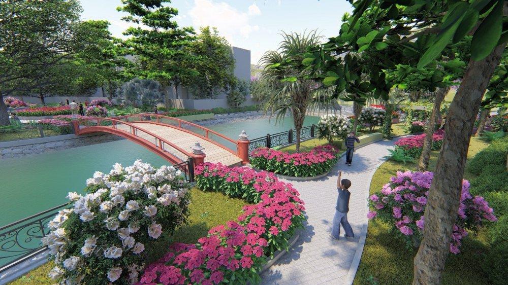 Phối cảnh khuôn viên vườn hồng trong dự án biệt thự Mon Rosalia Villas