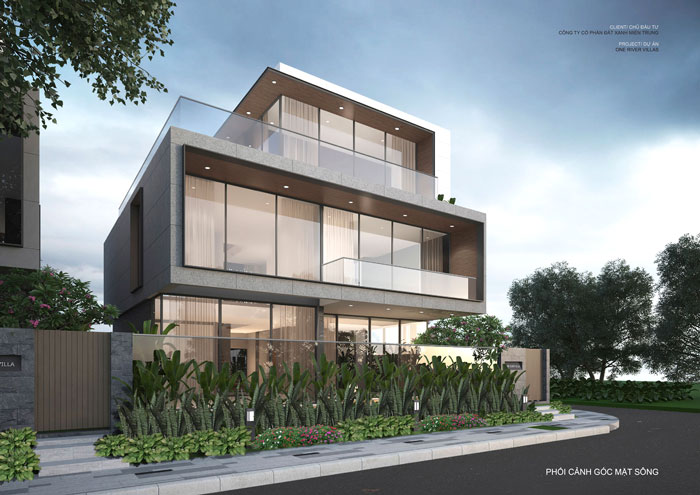 Phối cảnh mặt sau căn biệt thự thuộc phân khu One River Villas – dự án One River Đà Nẵng