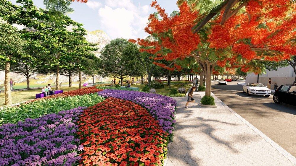Phối cảnh một góc vườn hoa tại khu biệt thự Mon Rosalia Villas
