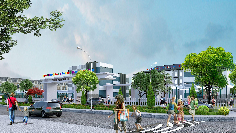 Phối cảnh trường Yên Thanh sắp hình thành trong dự án Uông Bí New City