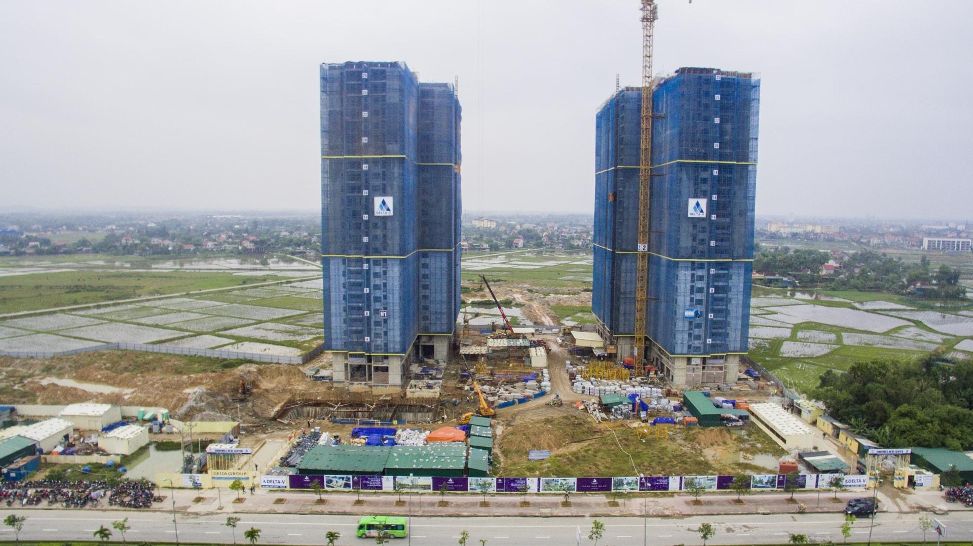 Thực tế tiến độ thi công 2 tòa tháp C1 và C2 dự án Vinhomes New Center giữa tháng 12/2018