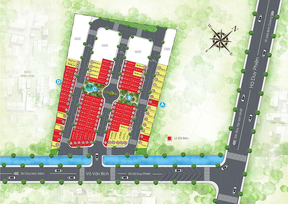 Mặt bằng phân lô dự án The Residence 1 Củ Chi
