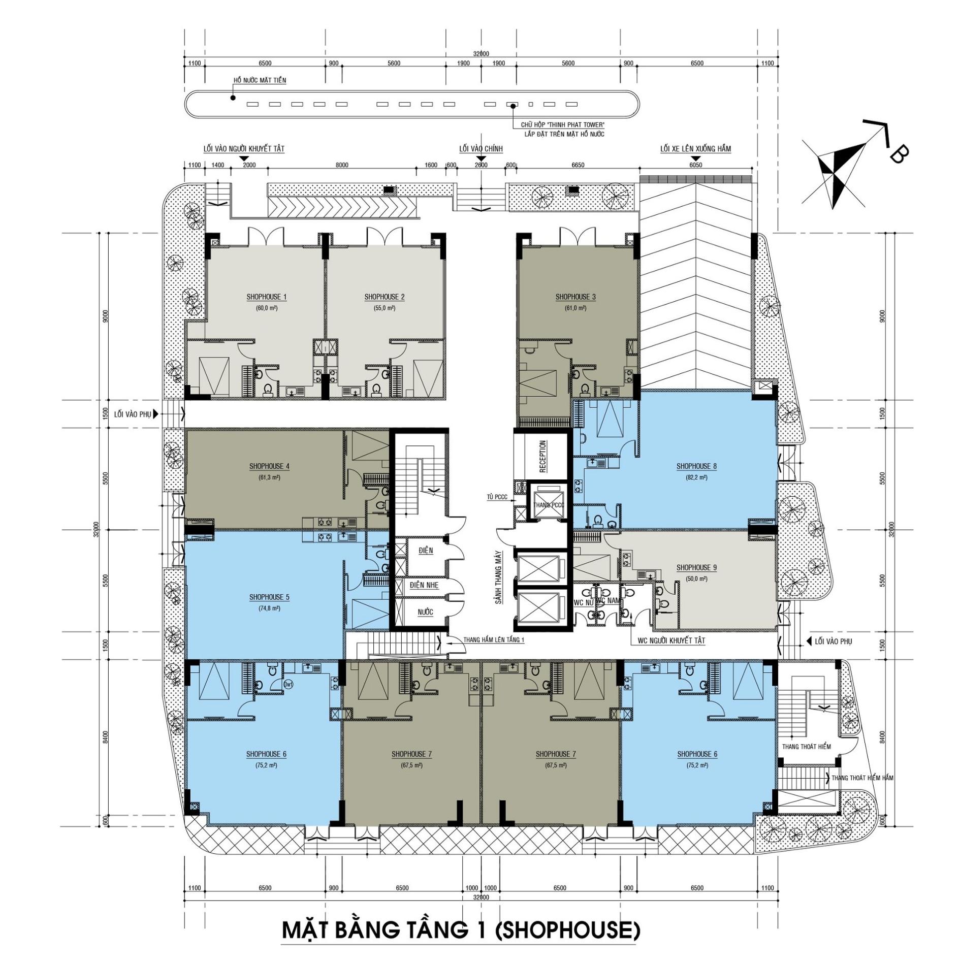 Mặt bằng tầng 1 (khu shophouse) dự án căn hộ condotel Thịnh Phát Tower