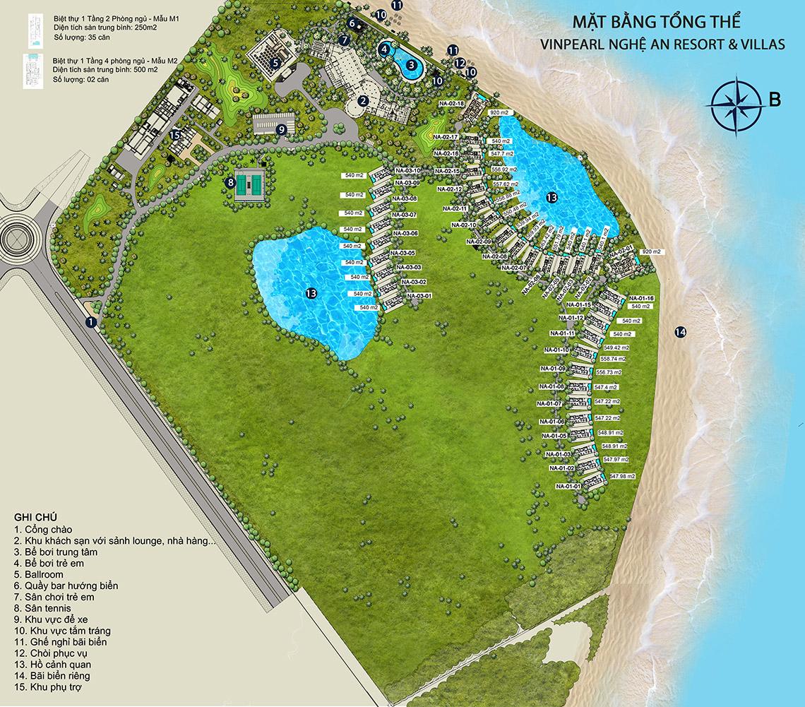 Mặt bằng tổng thể dự án nghỉ dưỡng Vinpearl Discovery Cửa Hội (Vinpearl Nghệ An Resort & Villas)