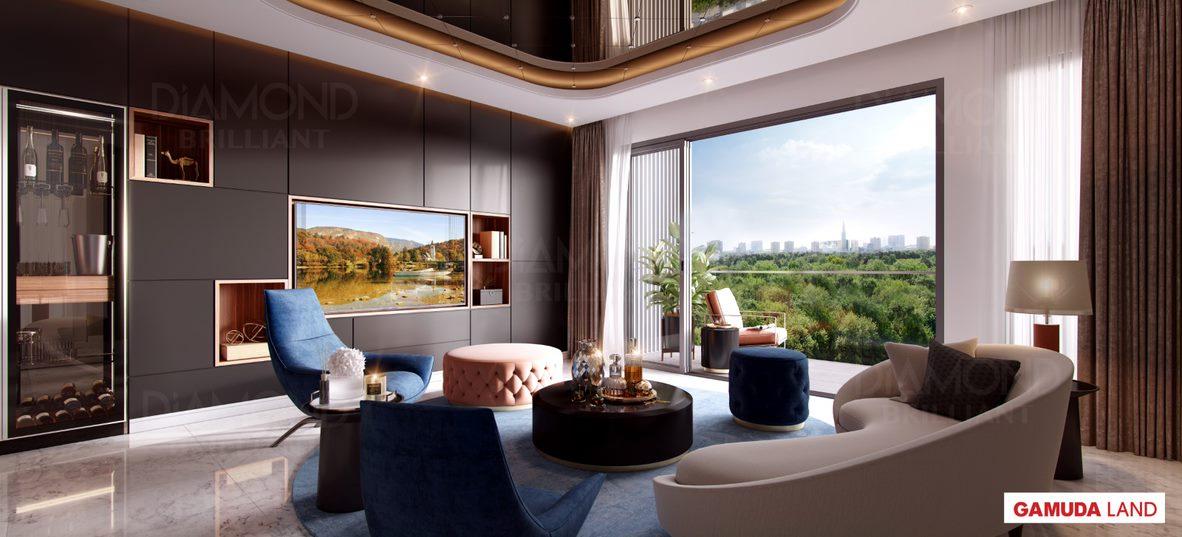 Phòng khách nhà mẫu dự án Diamond Brilliant