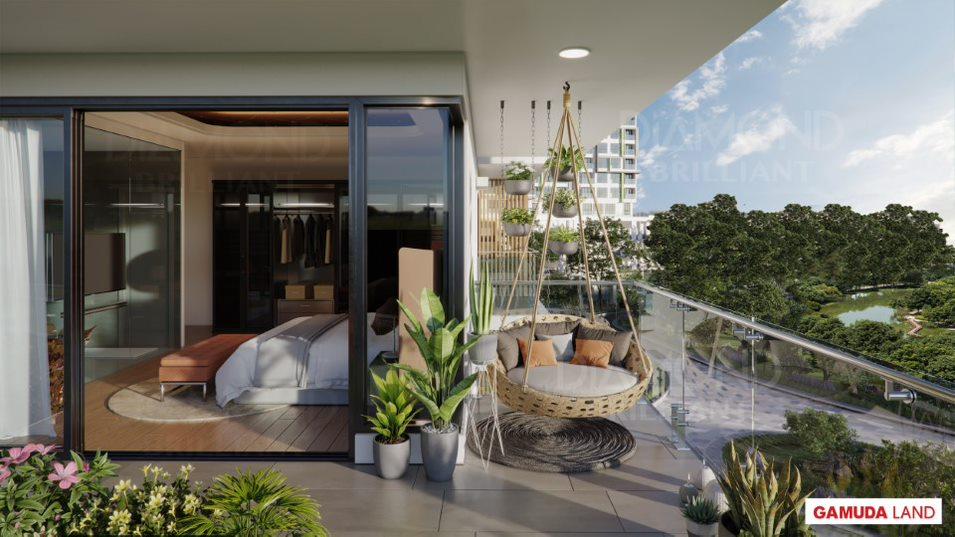 Phối cảnh ban công căn hộ với tầm nhìn hướng ra công viên sinh thái