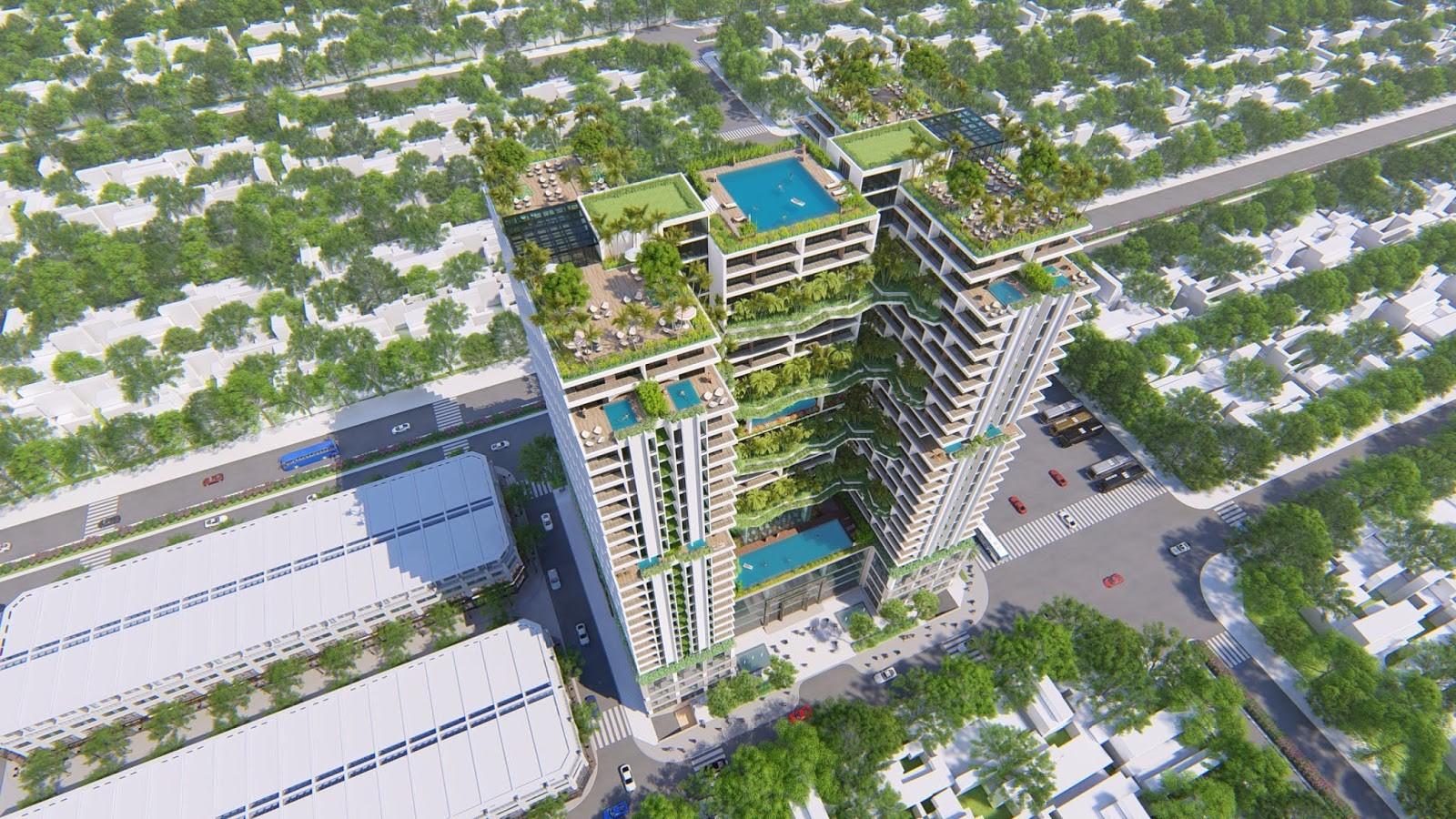 Phối cảnh tòa căn hộ condotel trong khuôn viên dự án Apec Mandala Phú Yên