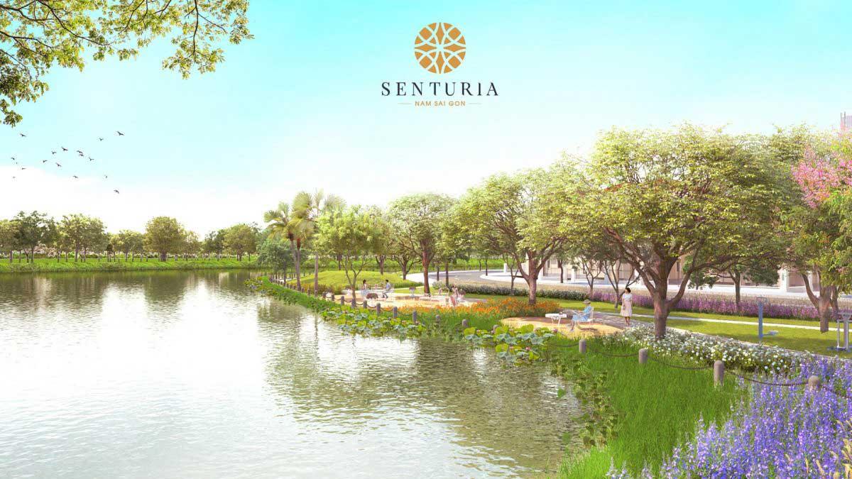Phối cảnh khu công viên nội khu dọc bờ sông bên trong dự án khu dân cư Senturia Nam Sài Gòn