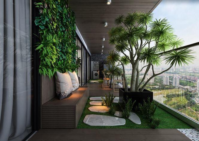 Phối cảnh khuôn viên ban công bố trí mảng xanh tại căn hộ Sunshine Golden River