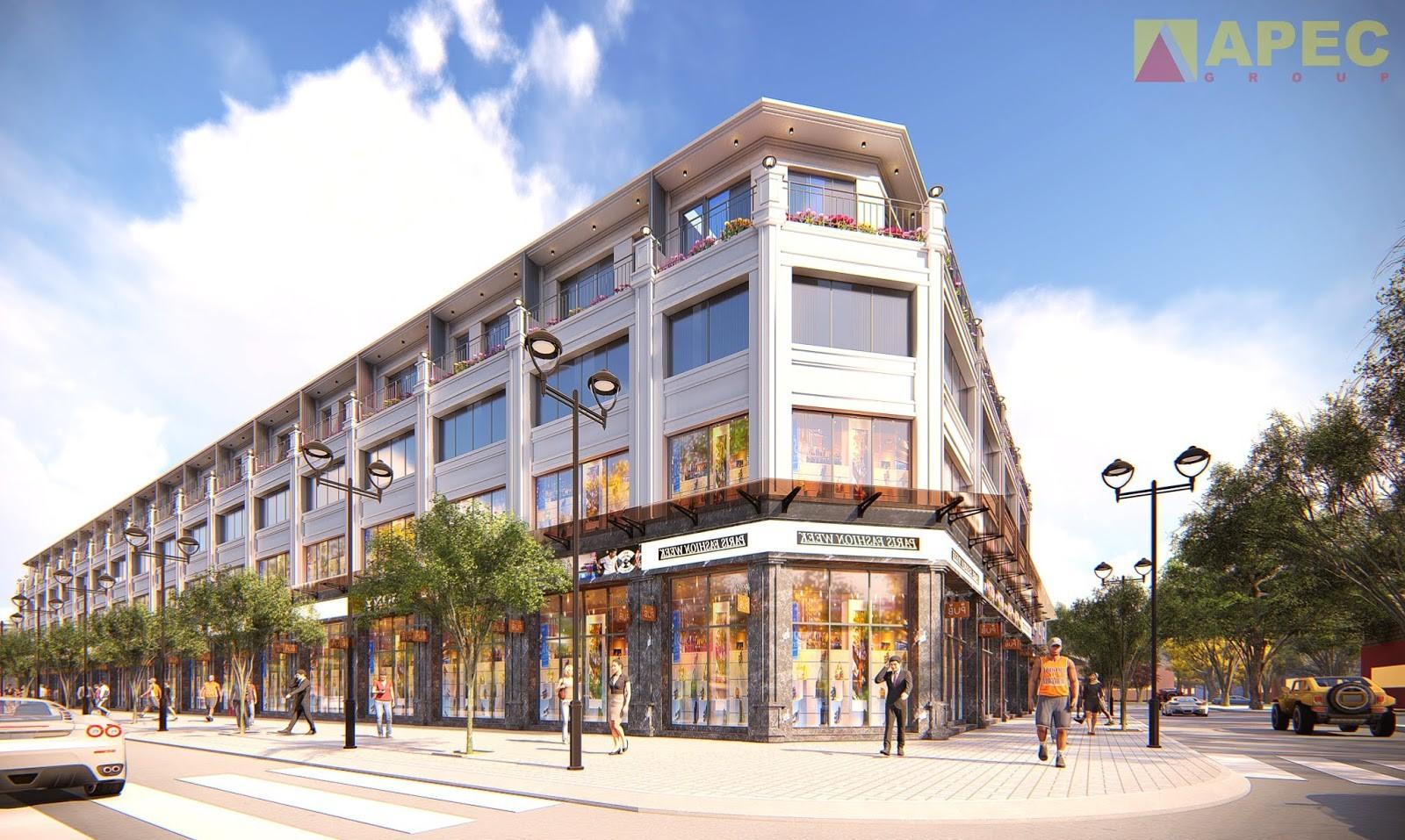 Phối cảnh dãy nhà phố thương mại thuộc dự án Apec Mandala Phú Yên