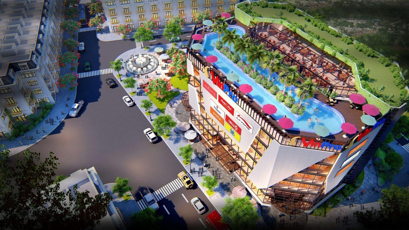 Phối cảnh tòa trung tâm thương mại cao 7 tầng của dự án Đông Dương Green