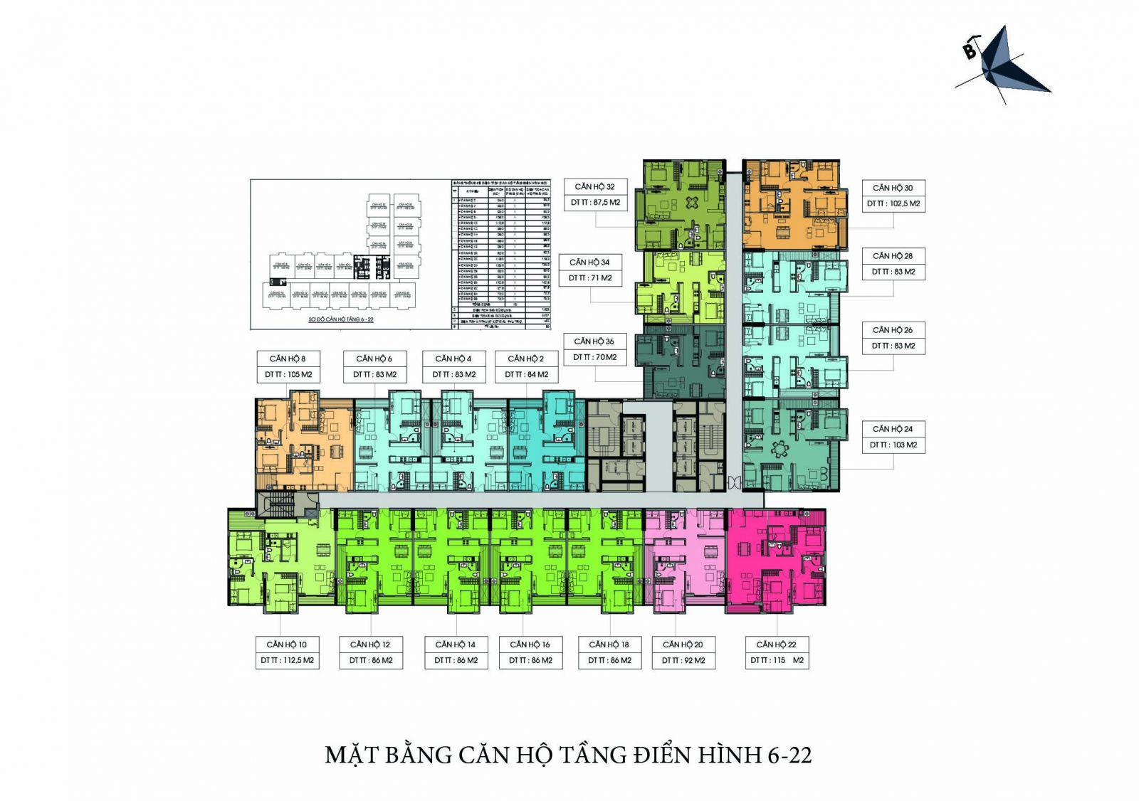 Mặt bằng tầng tầng điển hình (tầng 6 – 22) dự án căn hộ TSG Lotus Sài Đồng