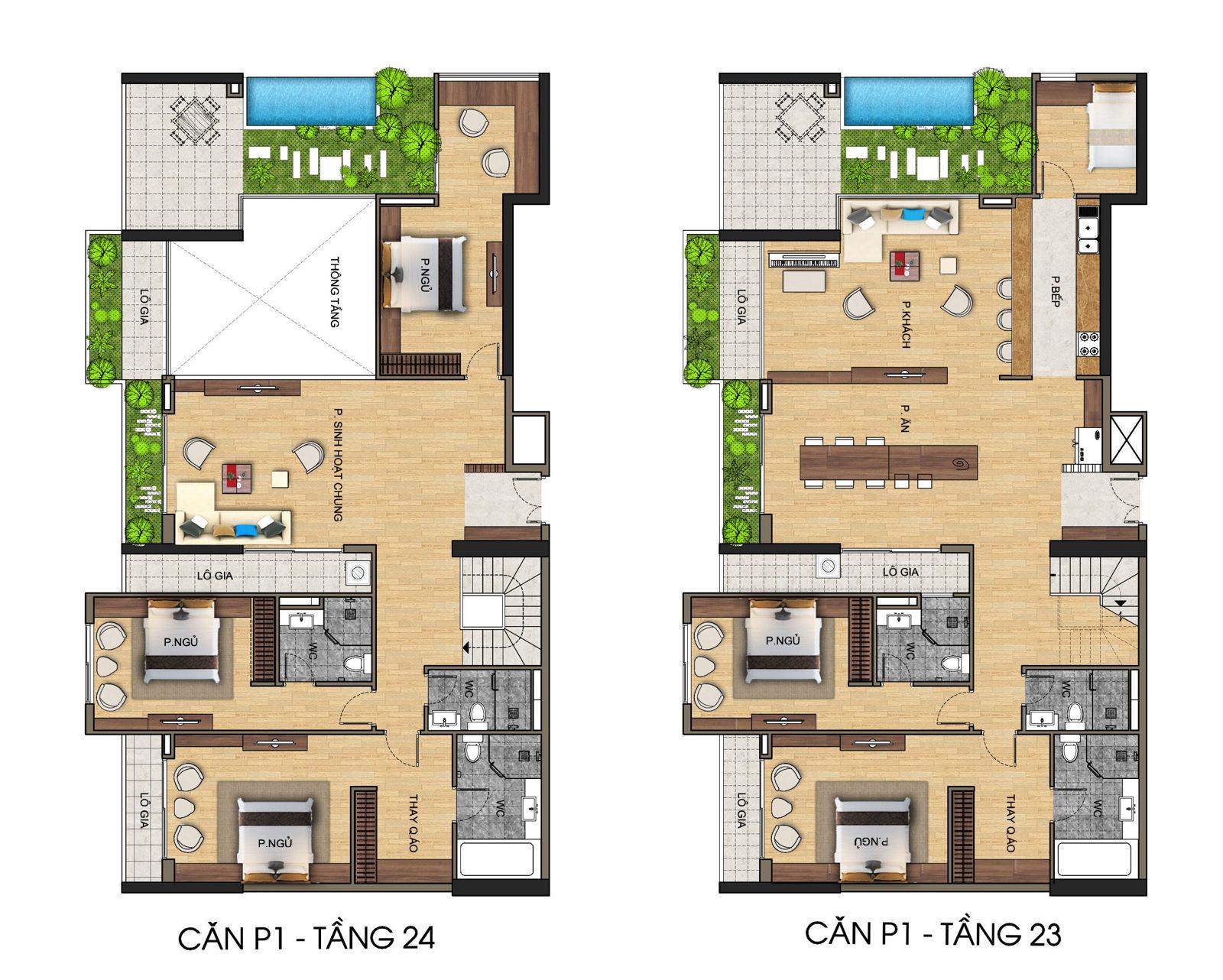 Phối cảnh căn hộ penthouse thông tầng điển hình