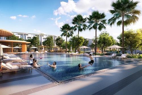 Phối cảnh hồ bơi trong khuôn viên khu dân cư Phát Đạt Bàu Cả